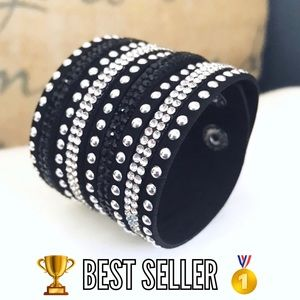 🎀 NEW • Black Crystal Vegan Leather Bracelet •